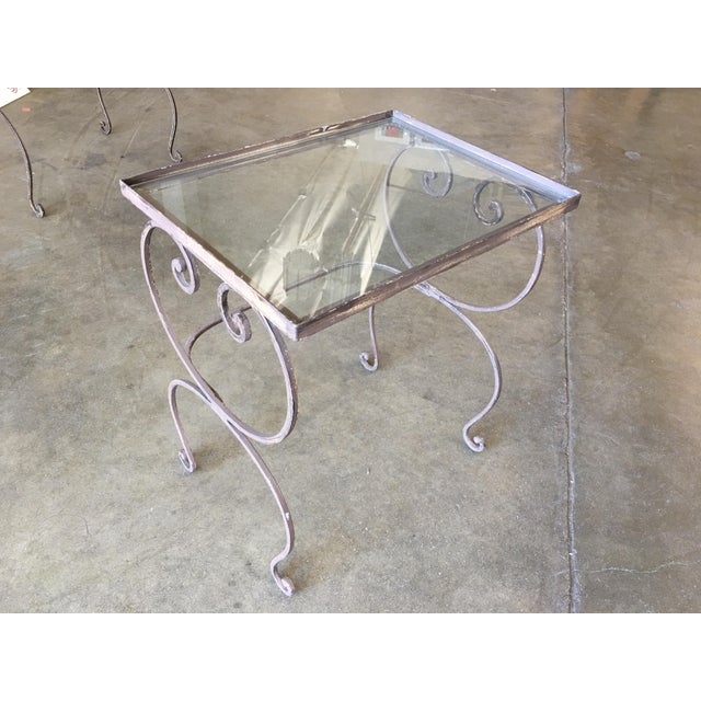 Scrolling Steel Outdoor/Patio Nesting Side Tables W/ Glass Tops - Set of 3 For Sale - Image 4 of 10