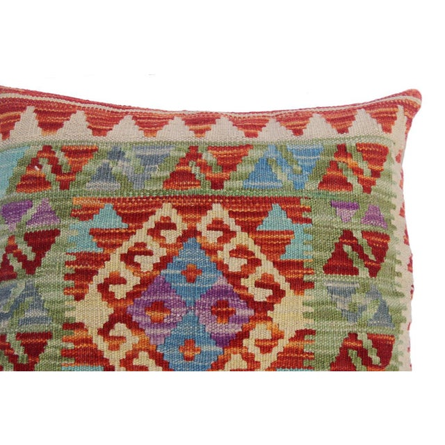"Christop Red/Ivory Hand-Woven Kilim Throw Pillow(18""x18"") For Sale - Image 4 of 6"