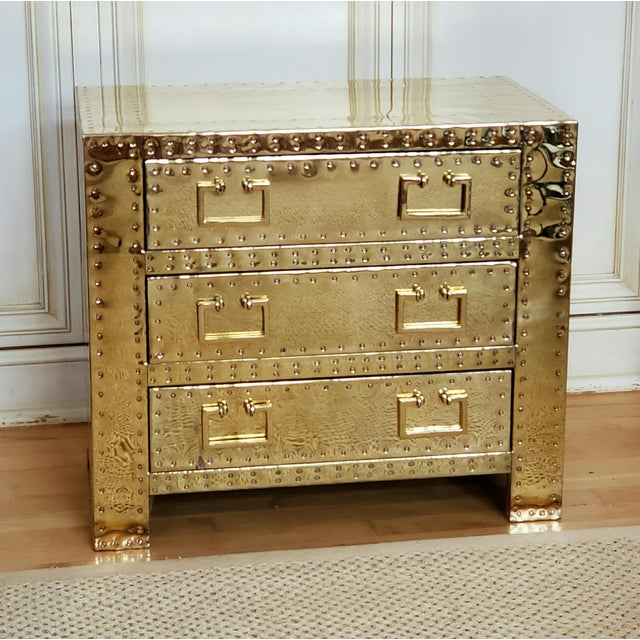 1970s Hollywood Regency Sarreid Brass 3 Drawer Chest For Sale - Image 11 of 12