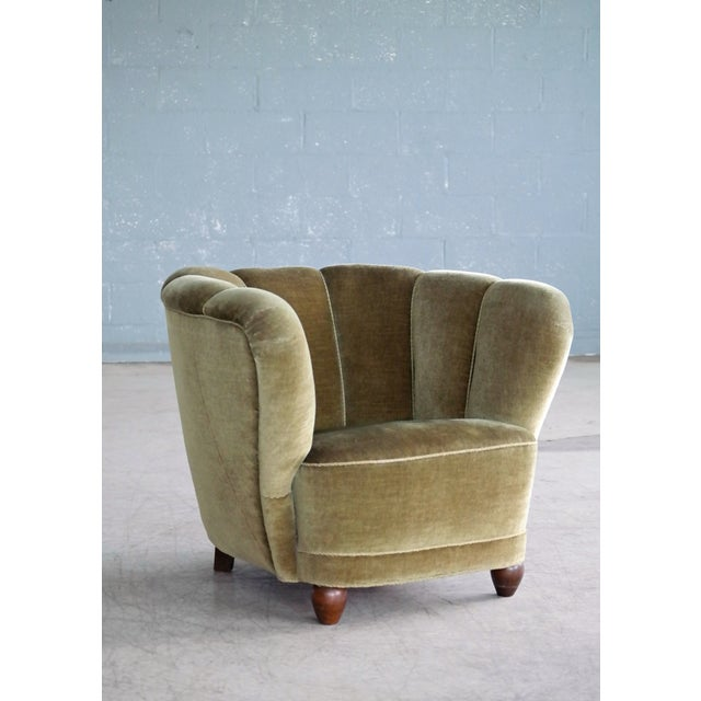 Art Deco Danish 1940s Viggo Boesen Style Club Chair in Beech and Mohair For Sale - Image 3 of 10