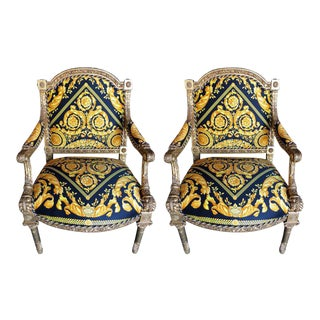 Pair of Louis XVI Style Versace Fauteuils One of a Kind For Sale