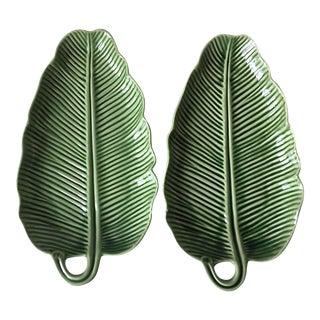 Bordallo Pinheiro Green Majolica Banana Leaf Dishes- A Pair