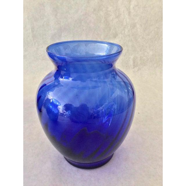 Vintage Anchor Hocking Cobalt Optic Glass Vases - Set of 3 For Sale - Image 4 of 9