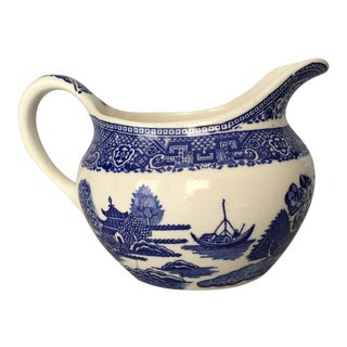 Vintage Asian Style Blue & White Small Pitcher/Creamer For Sale