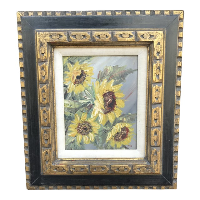 Mid-Century Impressionist Painting of Sunflowers For Sale