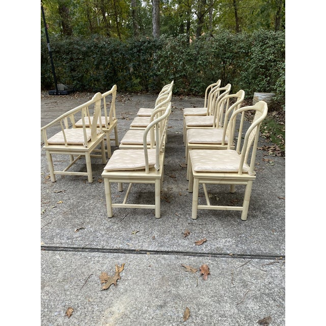 Wood Vintage Henredon Asian Faux Goatskin Dining Chairs - Set of 10 For Sale - Image 7 of 12