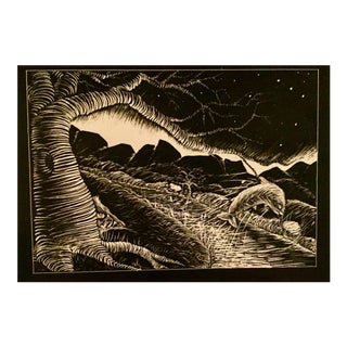 Leaping Fish Scratchboard Art For Sale