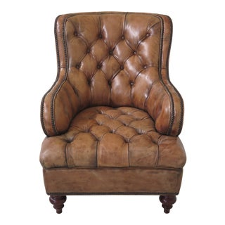 Maitland Smith Distressed Leather Tufted Piper Chair For Sale