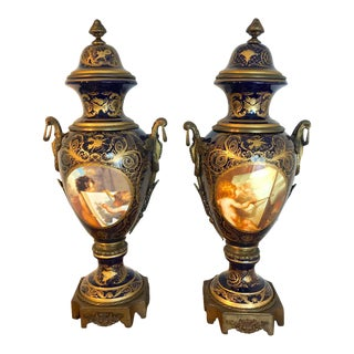 Palace Size Sevres Style 'Labors of Cupid' Ormolu & Cobalt Urns - a Pair For Sale