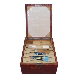 Edwardian English Red Leather Travel Case & Accessories For Sale