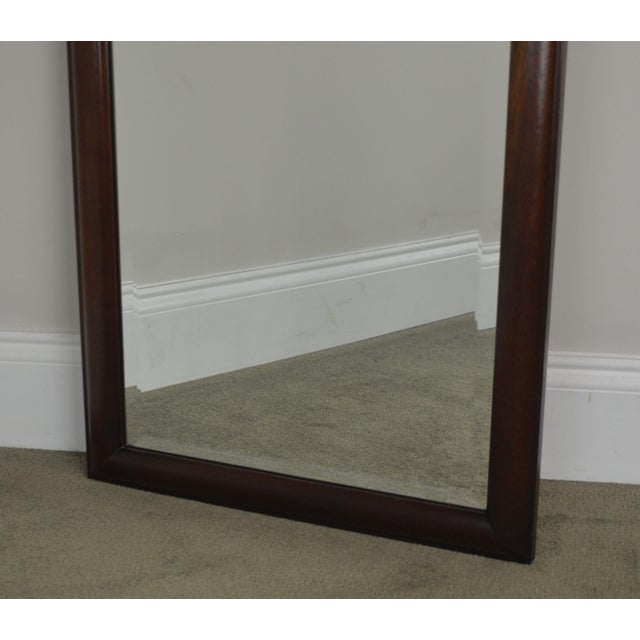 Hickory Chair Co. Pair Solid Mahogany Frame Arch Top Beveled Mirrors For Sale - Image 11 of 13