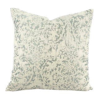 """Hodsoll McKenzie Malden Damask in 592 Pillow Cover - 20"""" X 20"""" Seafoam Blue and White Cotton Damask Cushion Case For Sale"""