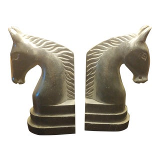 Dark Marble Horse Heads Bookends - A Pair