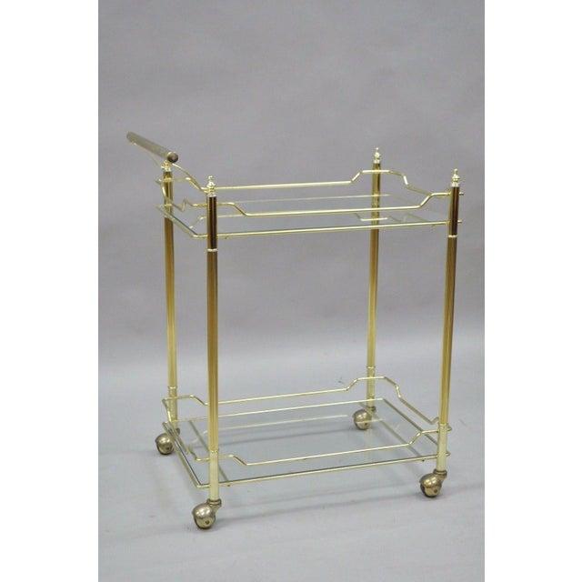 Mid Century Modern Brass Plated Metal & Glass Gold Rolling Bar Tea Cart - Image 6 of 11