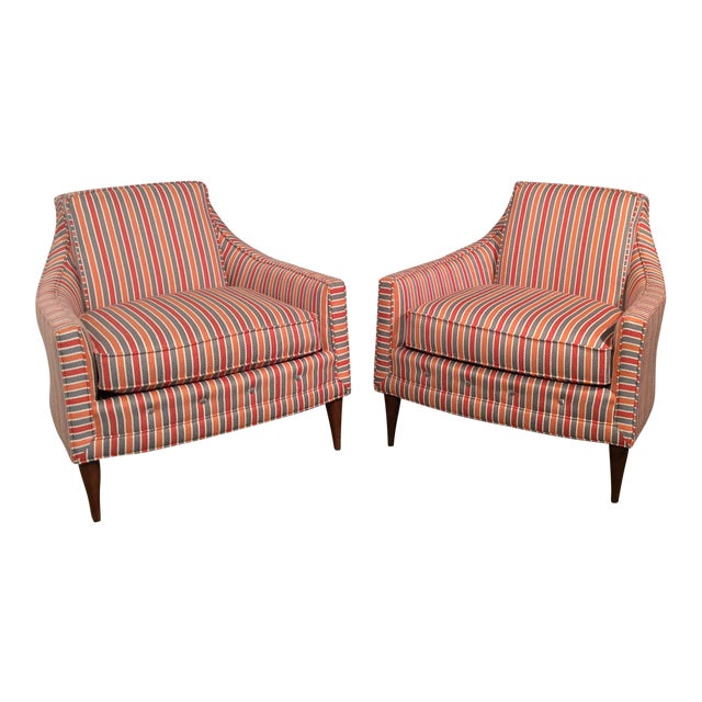 Mid Century Low Back Lounge Chairs - a Pair For Sale