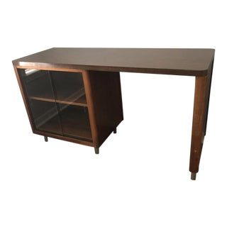 1960s Mid Century Modern Writing Desk With Sliding Glass Door For Sale