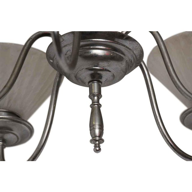 Art Deco Five Light Chrome Deco Fixture With Glass Shades For Sale - Image 3 of 10