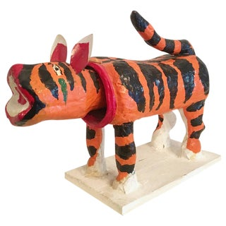 Japanese Bobble Head Paper Mâché Tiger For Sale