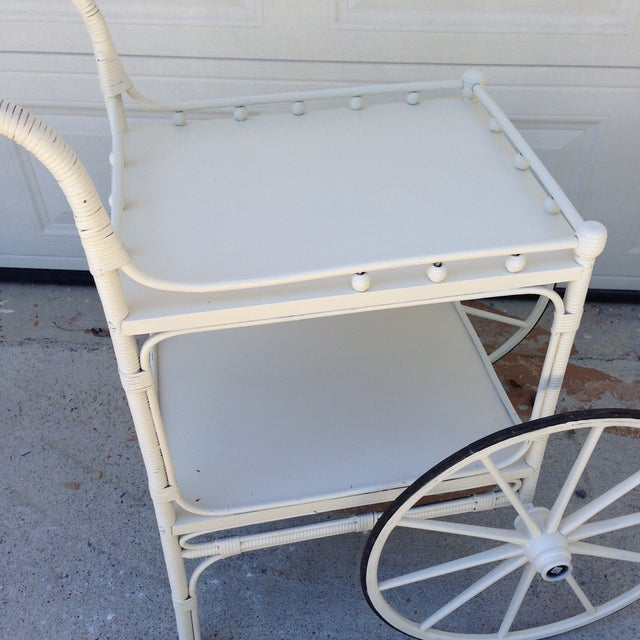 Vintage Heywood-Wakefield Wicker Bar Cart - Image 4 of 6