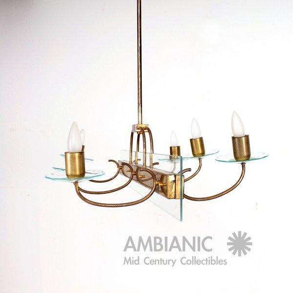For your consideration a vintage Italian chandelier. Brass construction with glass accents (cut by hand). Three arms per...