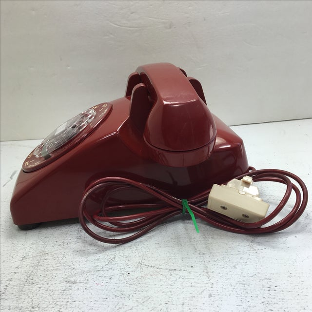 Mid-Century Modern Western Electric Red Rotary Dial Telephone For Sale - Image 3 of 11