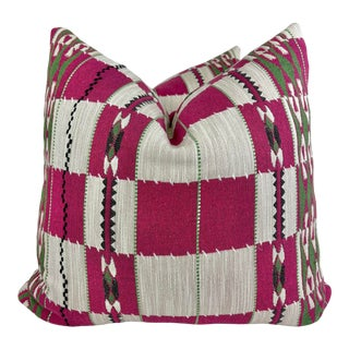 """Christopher Farr Cloth """"Chubby Check"""" in Hot Pink 22"""" Pillows-A Pair For Sale"""