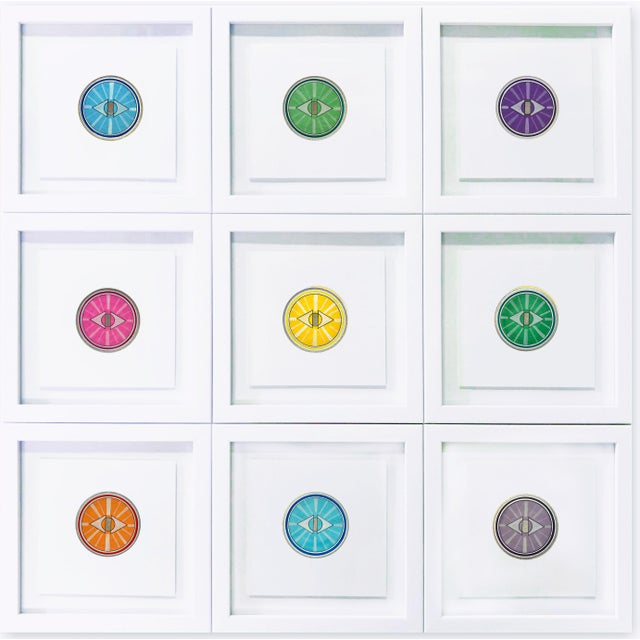 """Created in 2020, by artist, Natasha Mistry; these nine separate drawings join to form one piece. Each 8"""" drawing is framed..."""