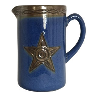 Montana Lifestyles Iron Star Western Blue Stoneware Pitcher, 2005