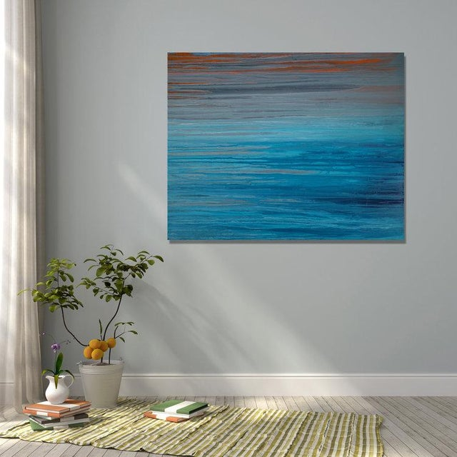 Abstract Teodora Guererra, 'Drenched in Teal' Painting, 2016 For Sale - Image 3 of 5