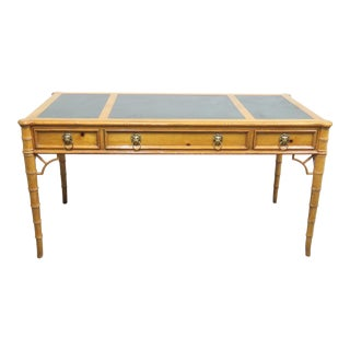 Baker Pine Faux Bamboo Leather Top Writing Desk For Sale