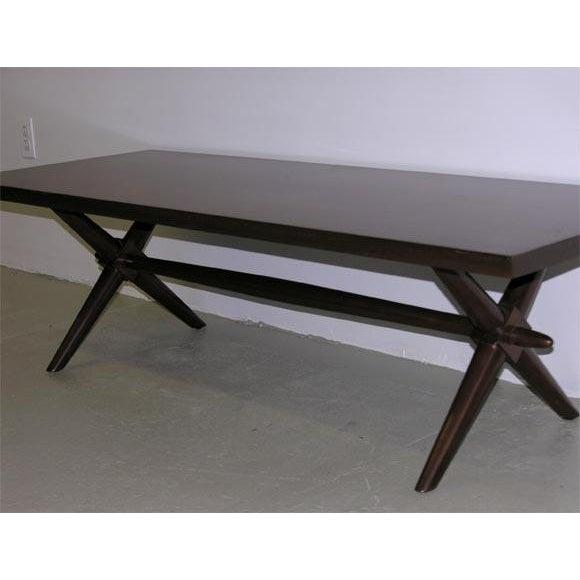 1950s T.H. Robsjohn-Gibbings for Widdicomb Trestle Base Cocktail Table For Sale - Image 5 of 6