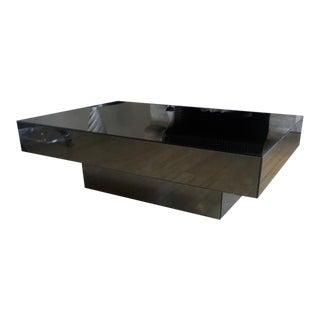 Seventies Big Square Pure Design Black Mirrored Coffee Table For Sale