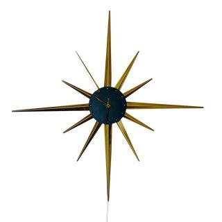 Mid Century George Nelson Brass Sunburst Wall Clock For Sale