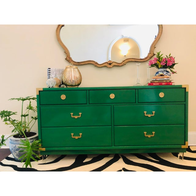 Green Thomasville Hollywood Regency Sideboard For Sale - Image 8 of 12