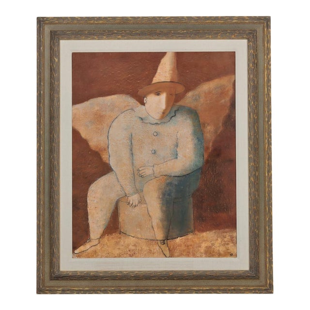 Felix Sherman Russian Expressionist Oil Painting of a Clown Angel For Sale
