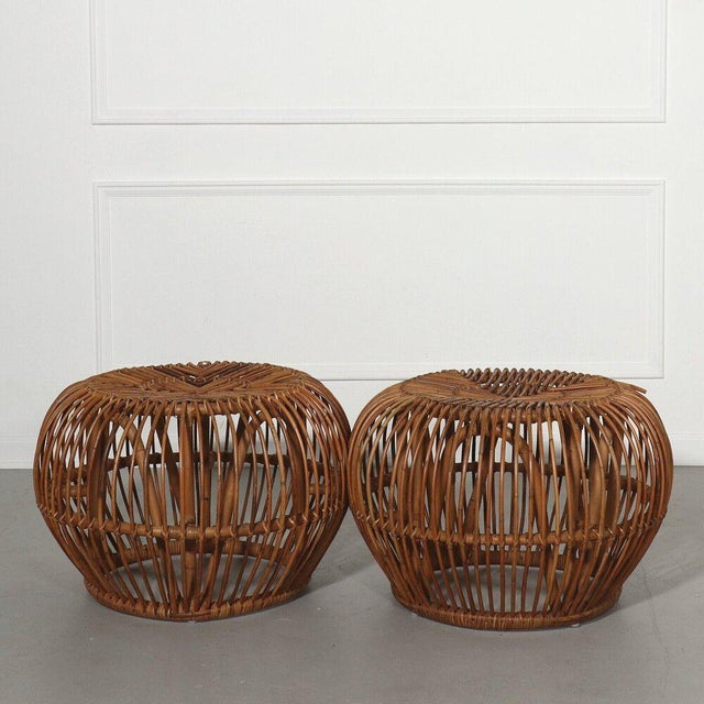 Pair, Mid Century Franco Albini Stools, Side Tables For Sale - Image 9 of 9