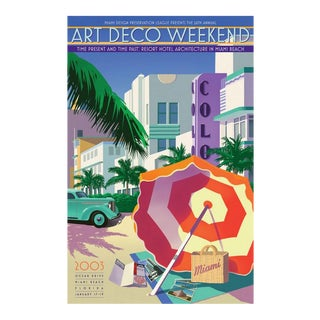 Large Art Deco Miami Framed Poster For Sale