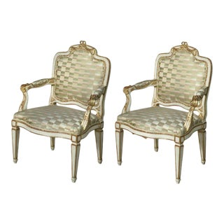 Pair of Swedish Neoclassic Cream Painted, Parcel-Gilt Armchairs For Sale