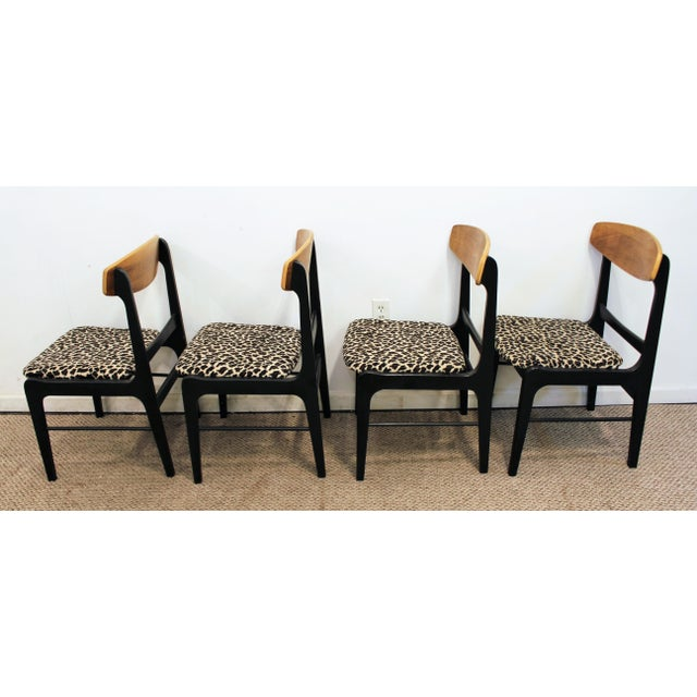 Danish Curve-Back Dining Chairs in Leopard - Set of 4 - Image 4 of 11