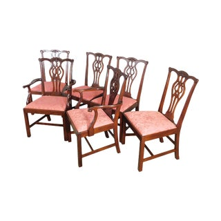 Stickley Chippendale Style Set 6 Solid Mahogany Dining Chairs For Sale
