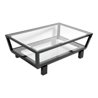 Hungarian Solid Beechwood and Glass Coffee Table For Sale