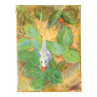 """1990s """"Field Mouse in Strawberry Patch"""" Outdoor Still Life Oil Painting For Sale"""