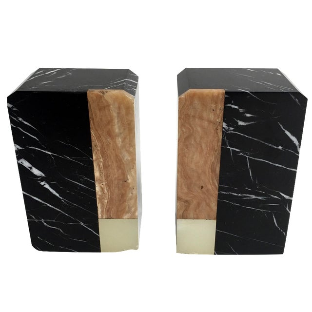 Post-Modern Marble Bookends - A Pair - Image 1 of 9