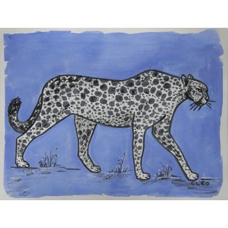 Chinoiserie Leopard or Cheetah in Blue Painting by Cleo Plowden For Sale