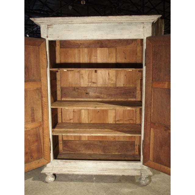 Painted 17th Century French Oak Diamond Point Armoire For Sale - Image 12 of 13