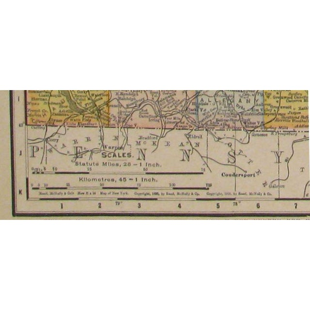 American Classical Antique Map of New York & Connecticut C. 1909 For Sale - Image 3 of 4