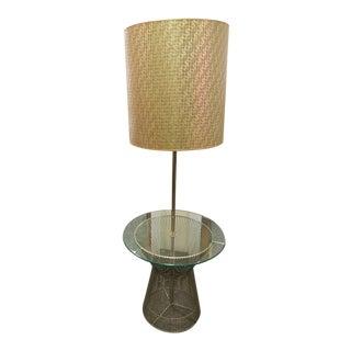 Mid-Century Modern Laurel Metal & Glass Floor Lamp Side End Table For Sale