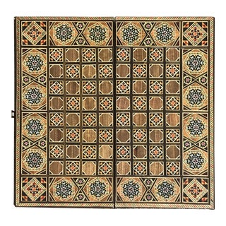Mosaic Syrian Backgammon and Chess Wooden Inlaid Marquetry Box Game For Sale