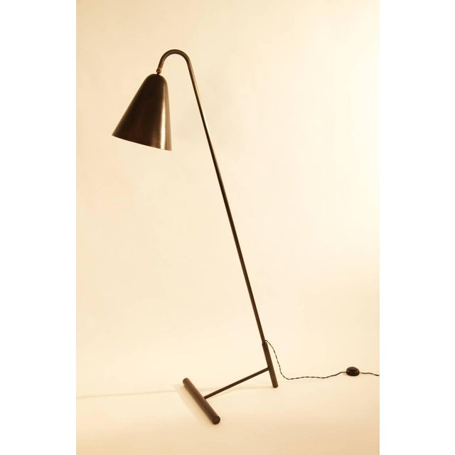 Blackened Steel Cone Shade Floor Lamp - Image 2 of 3