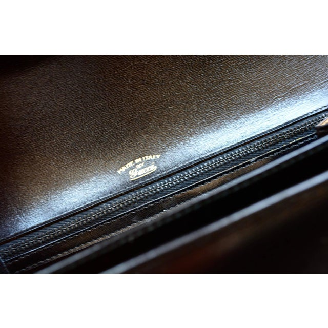 Mid-Century Modern 1960s Gucci Black Leather Bag For Sale - Image 3 of 6
